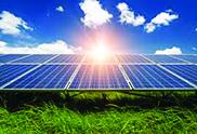 Solar panel under bight sun